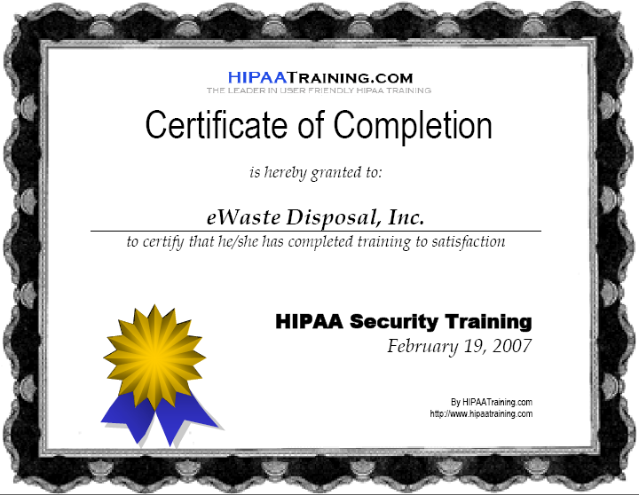 Compliance standards full environmental compliance for Hipaa training certificate template