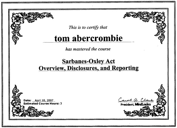 Sarbanes-Oxley Act Compliant Certificate